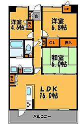 唐人町パークハウス[13階]の間取り