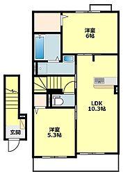 JR東海道本線 三ヶ根駅 徒歩11分の賃貸アパート 2階2LDKの間取り