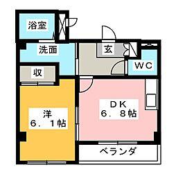 愛知県日進市折戸町定納の賃貸アパートの間取り
