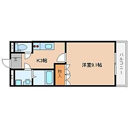 近鉄大阪線 榛原駅 徒歩11分の賃貸マンション 2階1Kの間取り
