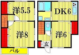 埼玉県越谷市蒲生4丁目の賃貸アパートの間取り