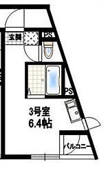 東京都世田谷区喜多見8丁目の賃貸アパートの間取り