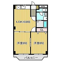 愛知県名古屋市中川区上高畑1丁目の賃貸マンションの間取り