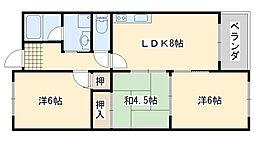 大阪府泉南市樽井2丁目の賃貸マンションの間取り