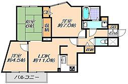 兵庫県神戸市垂水区千代が丘1丁目の賃貸マンションの間取り