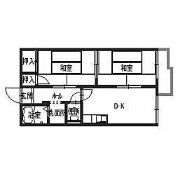 タウニィ井口[202号室]の間取り