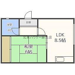 道下たたみアパート 2階1LDKの間取り