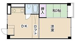 兵庫県西宮市南越木岩町の賃貸マンションの間取り