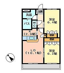 茨城県ひたちなか市田中後の賃貸アパートの間取り