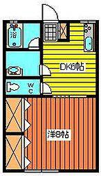 ドリームハウスII[1K号室]の間取り