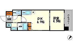 S-RESIDENCE淀屋橋 7階1DKの間取り