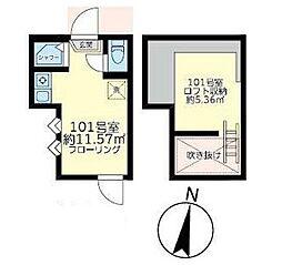 東京メトロ丸ノ内線 東高円寺駅 徒歩7分の賃貸アパート 1階ワンルームの間取り