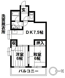 愛知県名古屋市瑞穂区八勝通2丁目の賃貸マンションの間取り