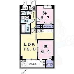 阪急千里線 南千里駅 バス9分 五月が丘下車 徒歩1分の賃貸マンション 2階2LDKの間取り