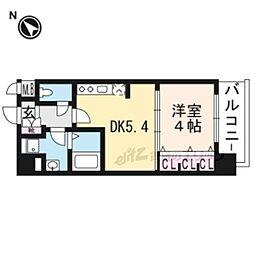 ベラジオ京都一乗寺II409号室 4階1DKの間取り