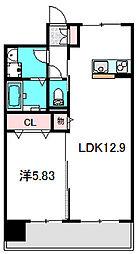 Osaka Metro谷町線 大日駅 徒歩5分の賃貸マンション 6階1LDKの間取り