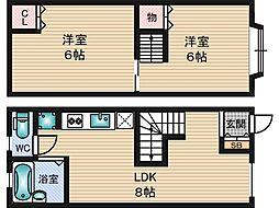 ミーテ江坂 1階2DKの間取り