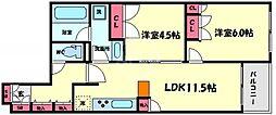 サンクタスタワー心斎橋ミラノグランデ 10階2LDKの間取り