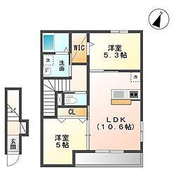 袖ケ浦市奈良輪2621番地新築アパート[203号室]の間取り