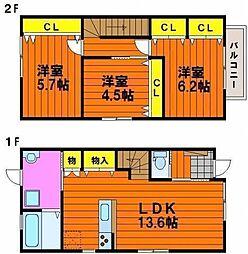[テラスハウス] 岡山県岡山市南区新保 の賃貸【/】の間取り