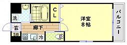 JR大阪環状線 芦原橋駅 徒歩5分の賃貸マンション 2階1Kの間取り