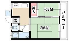 愛知県名古屋市昭和区川名本町2丁目の賃貸アパートの間取り