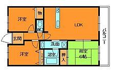奈良県香芝市上中の賃貸マンションの間取り