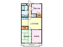 ドミール上野[4階]の間取り