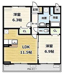 エスポワールIV 3階2LDKの間取り