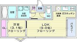 REGALEST小田原 3階1LDKの間取り