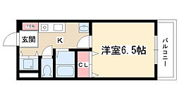 ペディメント[302号室]の間取り