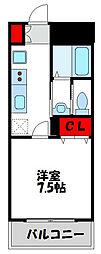 JR鹿児島本線 教育大前駅 徒歩10分の賃貸マンション 2階1Kの間取り