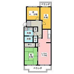 愛知県名古屋市西区比良2丁目の賃貸マンションの間取り