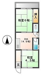 愛知県北名古屋市九之坪東町の賃貸アパートの間取り