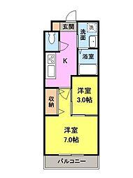 マンション中居II[2階]の間取り