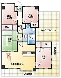 須磨妙法寺アーバンコンフォート 最上階角部屋 4LDK4面バ[7階]の間取り