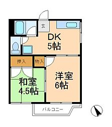 千葉県松戸市西馬橋2丁目の賃貸アパートの間取り