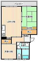 山口県下関市生野町2丁目の賃貸マンションの間取り