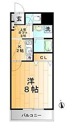 TOSHIハイツII 2階1Kの間取り