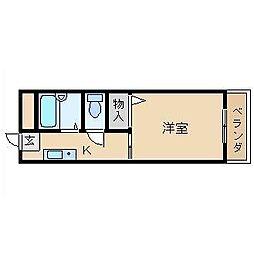 大阪府高槻市奈佐原1丁目の賃貸アパートの間取り