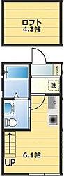 JR京浜東北・根岸線 桜木町駅 徒歩14分の賃貸アパート 1階ワンルームの間取り