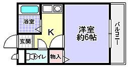 大阪府枚方市北山1丁目の賃貸マンションの間取り