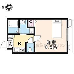 カサブランカ東寺 3階1Kの間取り