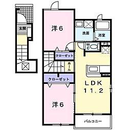 愛媛県松山市衣山5丁目の賃貸アパートの間取り