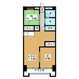 アールイーステージ蟹江(黒川ビル)[5階]の間取り