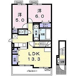 グランノーブル B[2階]の間取り
