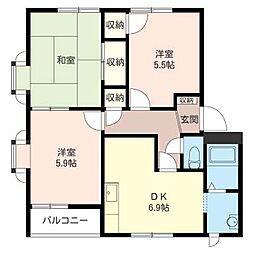 暁ハイツA[2階]の間取り