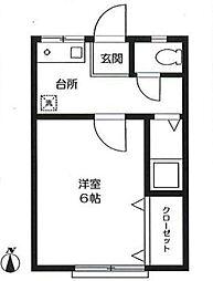 東京都大田区矢口1丁目の賃貸アパートの間取り