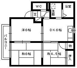 静岡県浜松市東区有玉北町の賃貸アパートの間取り