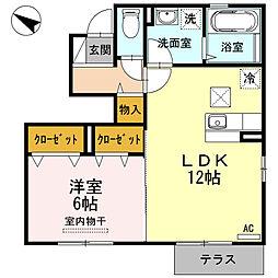 鳥取県鳥取市桂木の賃貸アパートの間取り